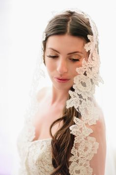 The #veil! So perfect for her gown!! See the wedding on SMP - http://www.StyleMePretty.com/little-black-book-blog/2014/01/14/classic-mint-pink-pelican-hill-wedding/ Heather Kincaid Photography