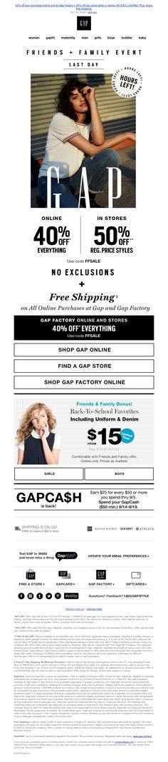 Gap - HOURS LEFT! No exclusions + free shipping is going, going...