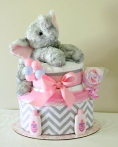 Pink and Gray Elephant Diaper Cake by MckayCakesnCrafts on Etsy, $35.00