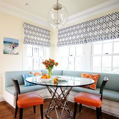 modern kitchen banquette,  Wall paint Benjamin Moore Woodmont Cream 204, Ceiling and trim paint Country Stove White