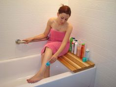 Butt Bench® is a sturdy, high-quality patent-pending bathtub seat made of natural wood. This tub seat supports your weight – use it to make shaving easier, or sit down, relax, and turn your shower into a sauna. Butt Bench is also a great bathtub storage ledge!