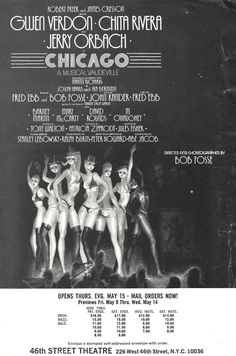 Chicago Musical, Theater Chicago, Musical Theatre, Jerry Orbach, Broadway Posters, Bob Fosse, Rivera, Window Cards, Musicals