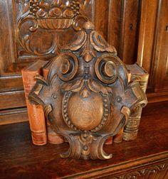 Antique German Carved Oak Scrolled Medallion by VintageFleaFinds