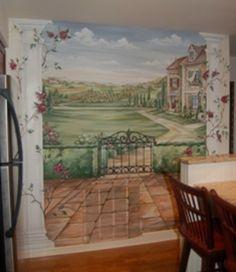 murals, MacMurray Designs MacMurray Murals Renee MacMurray Boston Mural House Portraits HANOVER, MA Kitchen Murals