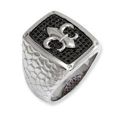 Men's Sterling Silver Black CZ Fleur De Lis Ring Men's Jewelry Available Exclusively at Gemologica.com