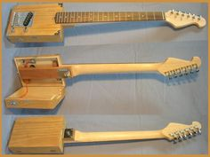 Carl's Custom handmade pro quality 6 string Cigar Box Electric Guitar w/opening body | Reverb