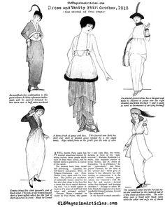 Paris Fashion, 1913 (Dress and Vanity Fair, Paris Fashion, Women's Fashion, Fashion Design, Art Nouveau, Art Deco, Paul Poiret, Jean Philippe, Tango Dress, Magazine Articles