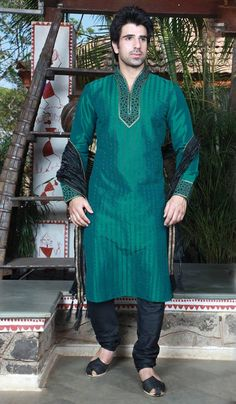 Teal #Green Poly Dupion Readymade #Kurta with Churidar @ $69.68