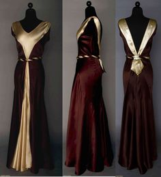 """SATIN EVENING GOWN, 1930s  2-tone silk charmeuse in ecru & chocolate, V front & back w/ buckle at back waistline, self fabric belt, B 36"""", W 24"""", L 58"""", excellent. Augusta Auctions April 9, 2014 - NYC New York City"""