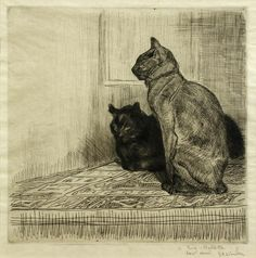 View Deux chats by Théophile Alexandre Steinlen on artnet. Browse upcoming and past auction lots by Théophile Alexandre Steinlen. Pencil Drawings Of Animals, Sacred Art, Cat Drawing, Cat Design, Crazy Cats, Pet Portraits, Cat Art, Illustrations, Pet Birds