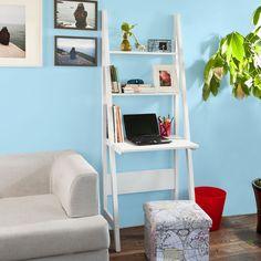 SoBuy® White Modern Ladder Storage Display Shelf,Desk and 2 Shelves, FRG60-W, UK