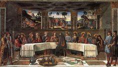 """La """"Última Cena"""" de Cosimo Rosselli y Biagio d'Antonio está caracterizada por la presencia de una mesa semioctogonal, a juego con formas análogas en los muros y techo. La figura de Judas está de espaldas y sobre su hombro hay un diablillo. En el fondo se ven las escenas de la Oración del huerto, el Prendimiento de Jesús y la Crucifixión."""