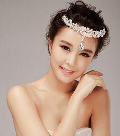 Exquisite Waterdrop Pendant Quinceanera Crowns Zircon Crystal Headdress For bridale