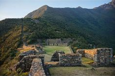 The sun's golden light casted on the ruins of Choquequirao.