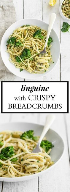 Linguine with Broccoli and Crispy Breadcrumbs - this recipe is quick and easy and made entirely of pantry staples! It takes all of 15 minutes to whip up and the crispy lemon parsley bread crumbs make (Chicken And Broccoli Recipes) Vegetarian Italian, Vegetarian Breakfast Recipes, Lunch Recipes, Healthy Dinner Recipes, New Recipes, Online Recipes, Favorite Recipes, Vegan Recipes, Ideas