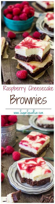 """Raspberry Cheesecake Brownies -- <a href=""""http://www.sugarspunrun.com"""" rel=""""nofollow"""" target=""""_blank"""">www.sugarspunrun.com</a>"""