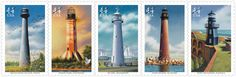Gulf Coast Lighthouses • as part of the USPS collection • by artist Howard Koslow • July 23, 2009