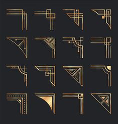 Art deco corners golden geometric ornamental vector image on VectorStock Art Deco Borders, Motif Art Deco, Art Deco Design, Ornamental Vector, Decorative Lines, 1920s Art Deco, Gold Pattern, Corner Designs, Line Design