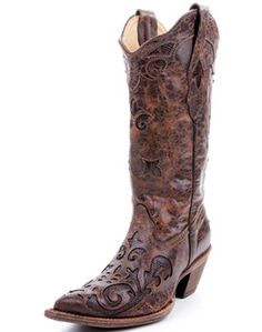 Corral Ladies Chocolate Vintage Lizard Overlay Western Boot