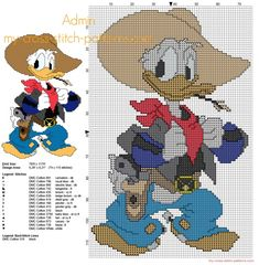 Disney Donald Duck cowboy free cross stitch pattern with back stitch