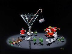 martini Santa and reindeer
