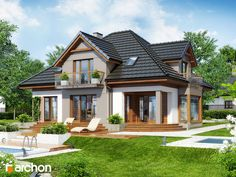 Dom w nagietkach 2 Home Building Design, Home Design Plans, Building A House, House Outside Design, Real Estate Prices, Sims House, Roof Design, Classic House, Modern House Design