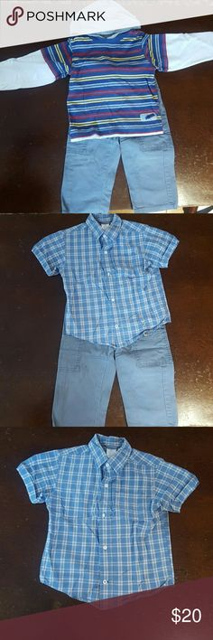 Gymboree shirts with matching pants, 3T Gymboree long sleeved, hooded t-shirt with blue, yellow, red and gray stripes. Short sleeved blue, gray and white plaid button down shirt.  Gray pants with blue contrast stitching and snap/zippered closure. Gymboree Matching Sets