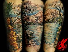 40 lake tattoo designs for men - nature ink ideas Nature Tattoo Sleeve, Leg Sleeve Tattoo, Tattoo Sleeve Designs, Tattoo Designs Men, Tattoo Nature, Tattoo Ribs, Natur Tattoo Arm, Natur Tattoos, Lake Tattoo