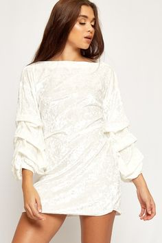 Rylie Bell Sleeve Crushed Velvet Belted Mini Dress | WearAll
