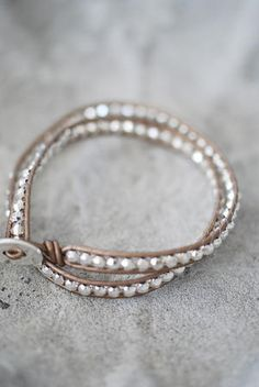 Gold leather bracelet with silver beads ♥