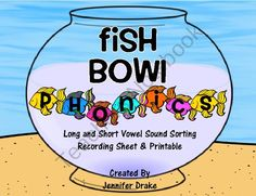 Fish Bowl Phonics!  Fish Theme Phonics Center for Short & Long Vowel Sounds! from Teachers Treasure Chest on TeachersNotebook.com (25 pages)  - Are you looking for a fun summer center for sorting pictures by short and long vowel sound?