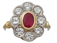 Vintage 2.05 ct Diamond and Ruby Colour Doublet, 18 ct Yellow Gold Cluster Ring
