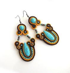 Orange turquoise earrings colorful earrings soutache by sutaszula