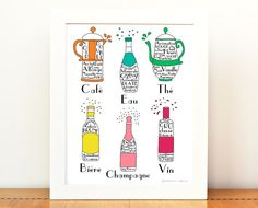French Drinks illustration 8x10 art print poster French Alcohol Beverages Typographic wine champagne beer water coffee tea drawing