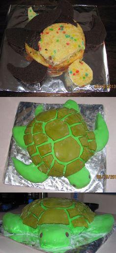 Green sea turtle cake.