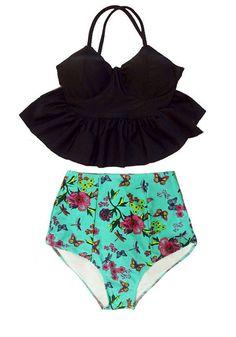 Black Long Peplum Tankini Hem Top and Mint Flora by venderstore