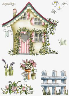 House, Country Style House, Cartoon Building, Flowers PNG Transparent Image and Clipart for Free Dow Decoupage Vintage, Decoupage Paper, Grafic Design, Cartoon Building, Paper Art, Paper Crafts, 3d Sheets, Country Paintings, Illustration