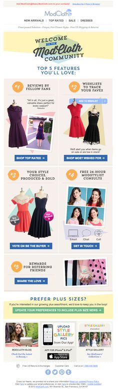 Welcome email - top 5 features you'll love, playful ModCloth
