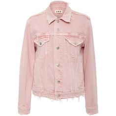 AMO Vintage Stretch Pink Denim Jacket (6,375 MXN) ❤ liked on Polyvore featuring outerwear, jackets, tops, coats, denim, pink, stretch jacket, pink jacket, jean jacket and pink jean jacket
