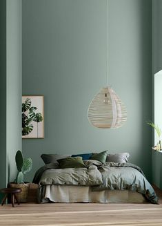 home decor bedroom Modern Earthy Home Decor: Soothing bohemian bedroom with soft pistachio green blue walls and rattan hanging lamp Bedroom Green, Green Rooms, Bedroom Wall Colors, Wall Colours, Green Bedroom Design, Green Wall Color, Interior Wall Colors, Mint Color Room, Bedroom Ideas Paint