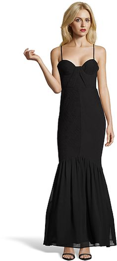 Hayden Black Textured Chiffon Strapless Mermaid Evening Gown (381380501) | Bluefly