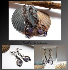 Sesi- wire wrapped earrings with violet, purple amethyst and Swarovski Crystals. Oxidized/tinted, hammered and polished copper wire for ancient, old looking, vintage effect. Size is about 7,2 x 1,9...
