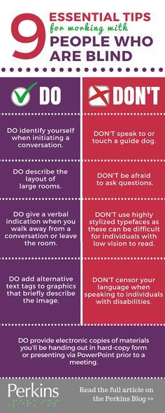 This pin covers the do's and dont's for working with blind people. its more of a list of courtesy's and unwritten laws of communicating with blind persons. Braille, Disability Awareness, Effective Communication, Social Skills, Etiquette, Special Education, Blinds, Teaching, Writing