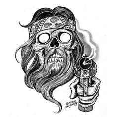 Bearded Outlaw by Rob Dringenberg Biker w Gun Canvas Giclee Art Print