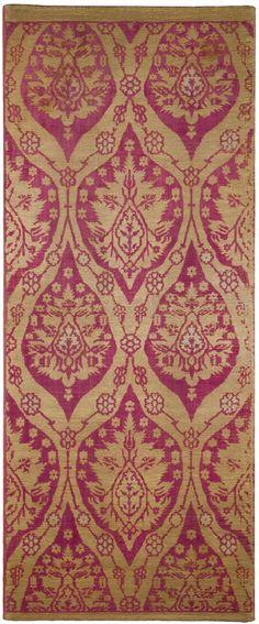 An Ottoman Voided Silk Velvet (çatma) Panel, Bursa or Istanbul, Turkey, 17th century