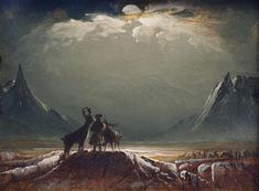 Peder Balke Sami with Reindeer under the Midnight Sun about Northern Norway Art Museum, photo Maria Dorothea Schrattenholz National Gallery, National Art, Landscape Art, Landscape Paintings, Moonlight Painting, Midnight Sun, Galleries In London, Fantasy Paintings, Arctic Circle