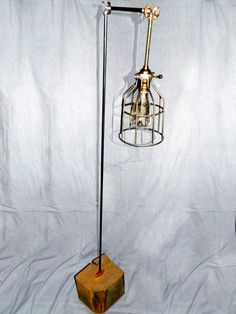 Cage Tree Trunk Floor Lamp / Industrial Light / Pipe Lamp / Industrial Lamp / Floor Lamp / Lighting / Floor Lighting / Cage Light