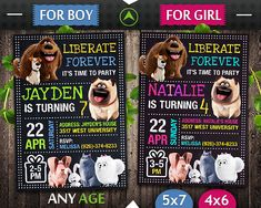 Secret Life of Pets Invitation, Secret Life of Pets Birthday, Secret Life of Pets Invite, Secret Life of Pets Party Birthday Party Invitations, Birthday Party Themes, Birthday Ideas, 2nd Birthday Boys, Secret Life Of Pets, Animal Birthday, Animal Party, Summer Kids, Custom Invitations