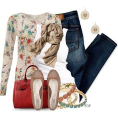 Floral Cardigan, created by colierollers on Polyvore