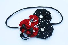 black and red polka dot flower headband